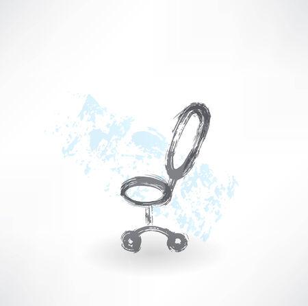 sedia ufficio: Sedia da ufficio grunge icona Vettoriali