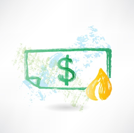 excess: Paper dollar in fire grunge icon Illustration