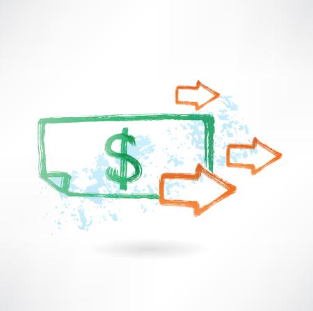 Papier dollar en pijlen grunge pictogram Vector Illustratie