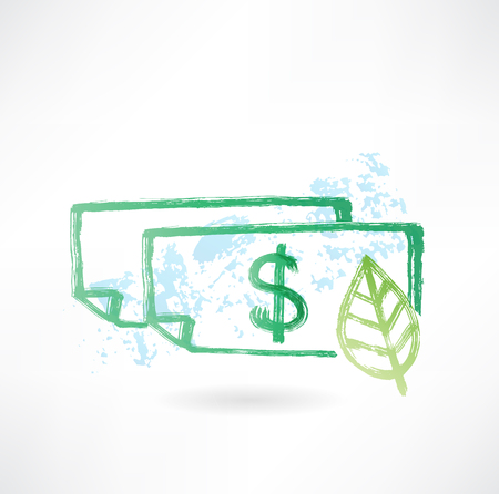 Paper dollar and leaf grunge icon Vector