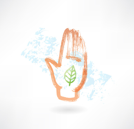 gesticulation: Eco palm grunge icon Illustration