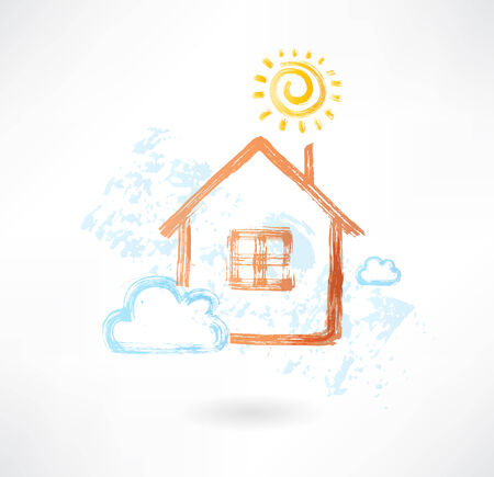 House in the sun and cloud grunge icon Vector
