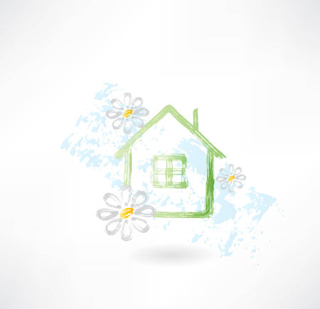 House and flower grunge icon Vector