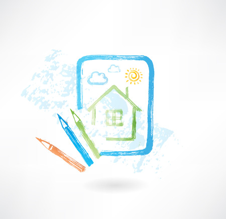 painted house grunge icon Vector