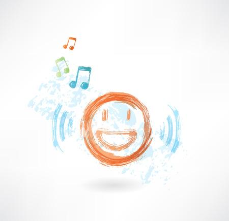 Music smile grunge icon Vector