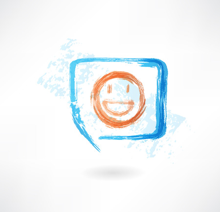 giggle: Smile in speech bubble grunge icon