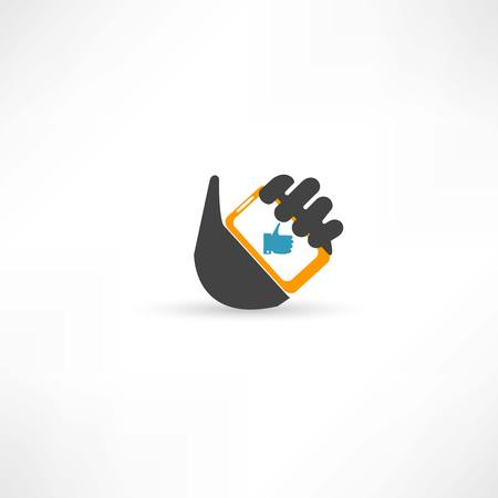 hand touch: Phone in hand thumb up Illustration