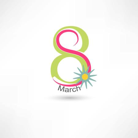Womens Day 8 march with flower Illustration