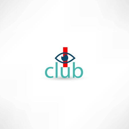 opthalmology: club symbol with eye