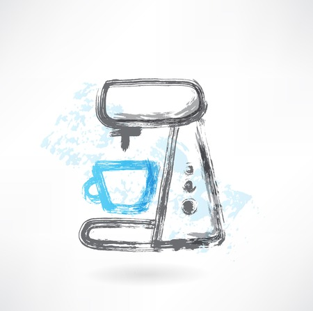 메이커: coffee maker grunge icon 일러스트