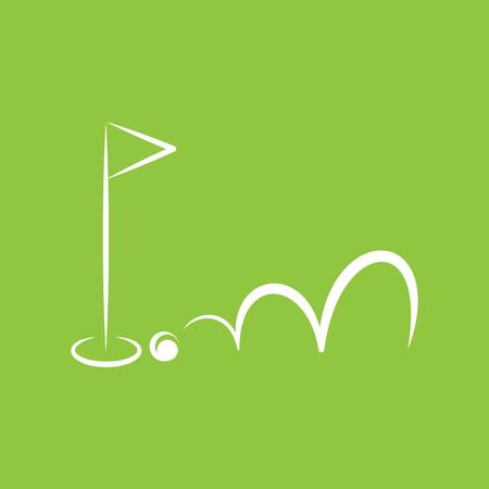 three cornered: small flag on green background Illustration