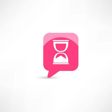 hourglass in pink bubble speech Vector
