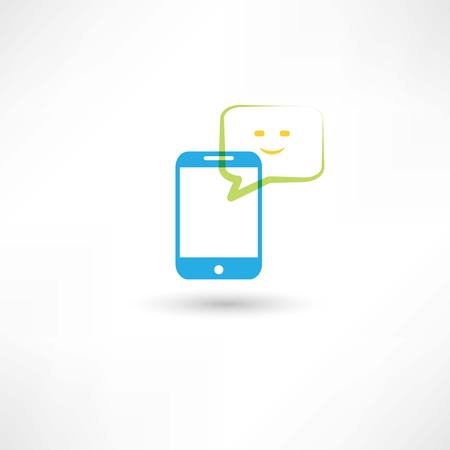 cellphone: cellphone with happy bubble speech Illustration