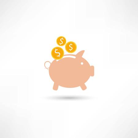 pink pig with money