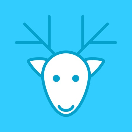 white deer head on a blue background