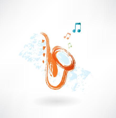 brass instrument: sax grunge icon