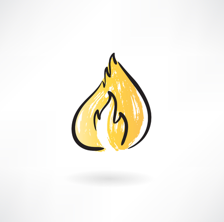Fire grunge icon Illustration