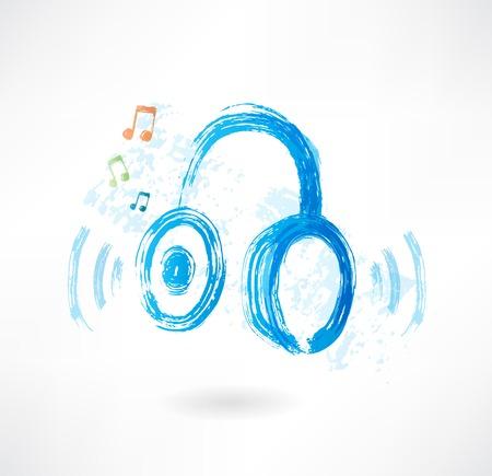 headphones grunge icon