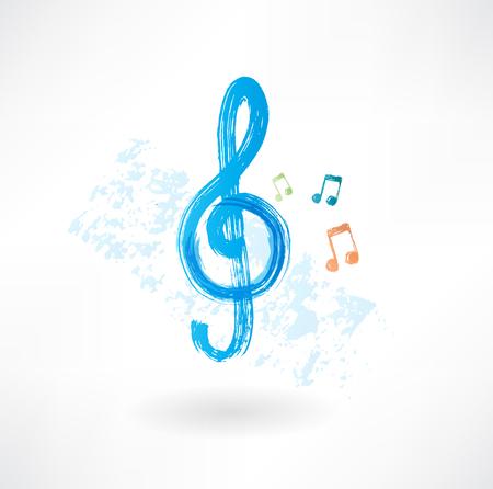 pentagrama musical: agudos clef icono grunge Vectores