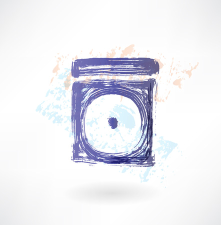 pc case: disk in the box grunge icon Illustration