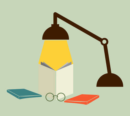 Reading with a lamp Vector