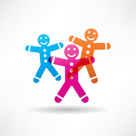 three colored: Three colored gingerbread men Illustration