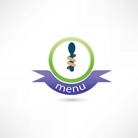 Spoon and fork around it for menu Vector