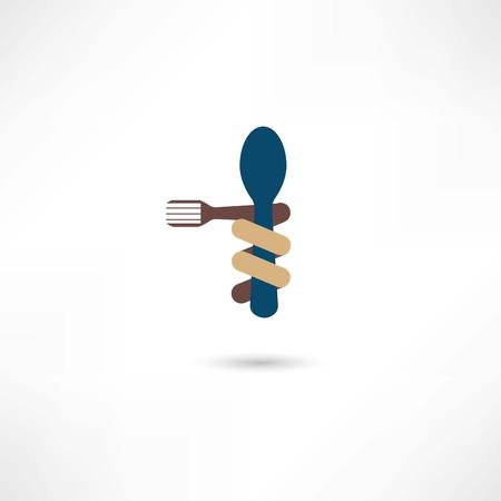 Spoon and fork around it Vector