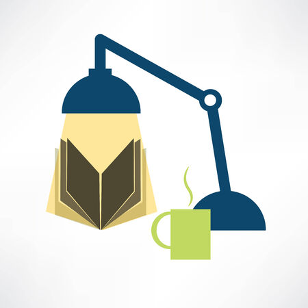 reading book with a lamp Vector
