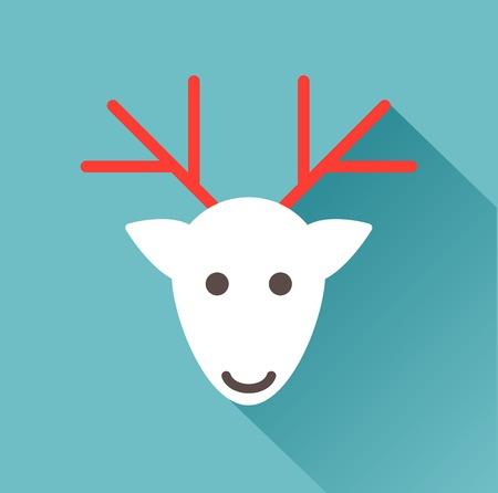 huge antlers: deer head on a blue background Illustration