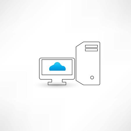 Computer with cloud on display Illustration