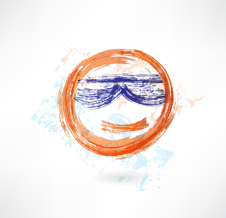 emote: yellow face in sunglasses grunge icon