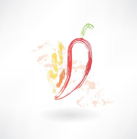 hot pepper: hot pepper grunge icon Illustration