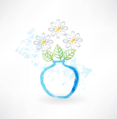 campanula: bouquet in a vase grunge icon Illustration