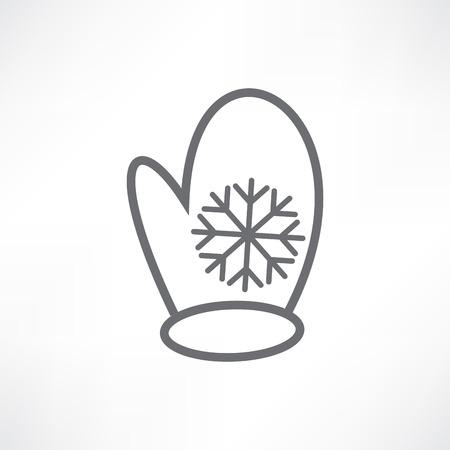 White mitten with a snowflake