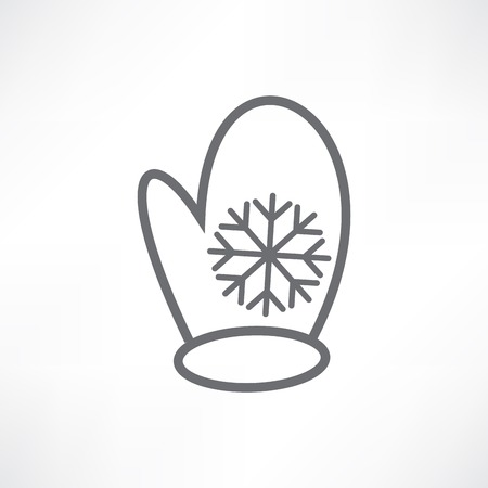 White mitten with a snowflake
