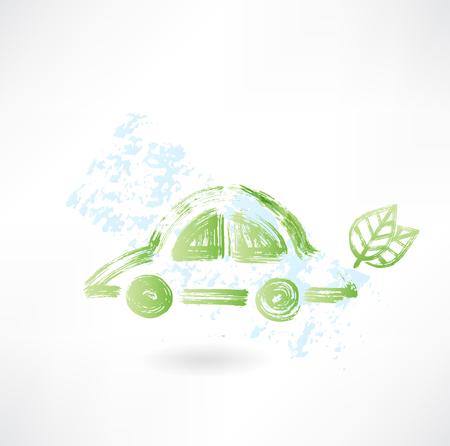 turismo ecologico: icono de coche ecológico grunge