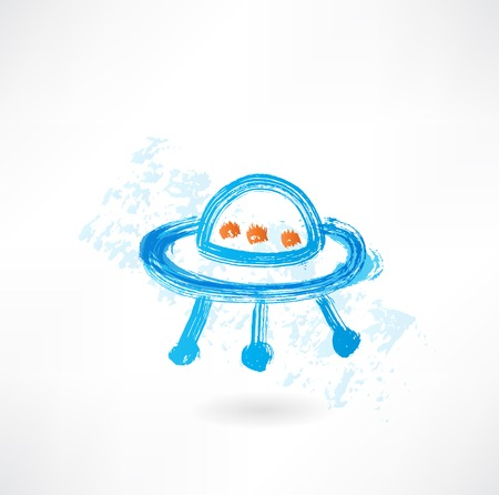 flying saucer: flying saucer grunge icon Illustration