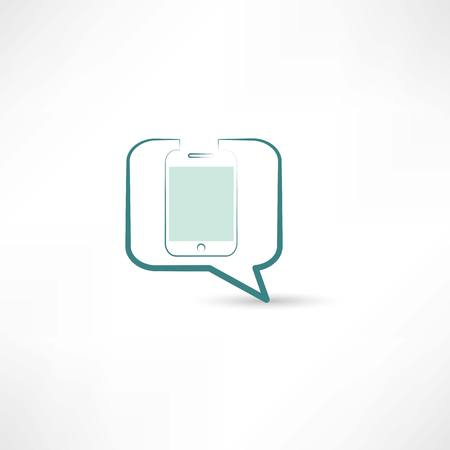 app banner: cellphone in bubble speech Illustration