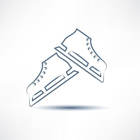 ice skates: two white skates
