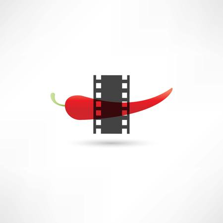 Pepper and film frame Vector