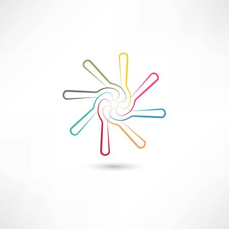 Colored spoons in circle Vector