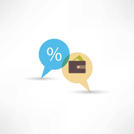 pouch: purse and percent in bubble speech Illustration