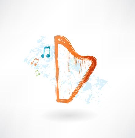 harp grunge icon Vector