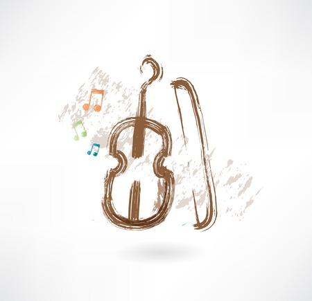 fiddlestick: violin with a bow grunge icon
