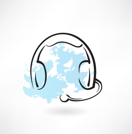 headset symbol: headset with microphone grunge icon Illustration