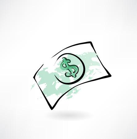 cash money: icono grunge dólar de papel