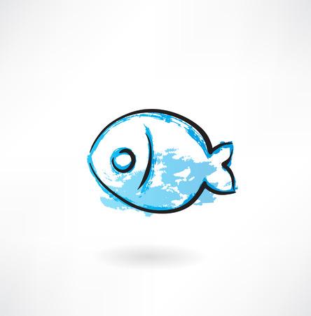 シンプルな魚グランジ アイコン  イラスト・ベクター素材