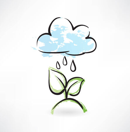 reflection of life: Rain and leafs grunge icon Illustration