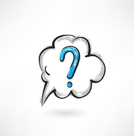 internet mark: question cloud grunge icon